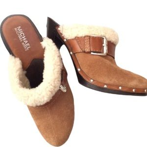 Michael Kors Suede Shearling Lined Studded Mules 8